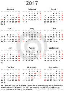United States Of America Usa Calendrier 2018 Simple Calendar 2017 With Holidays For The Usa