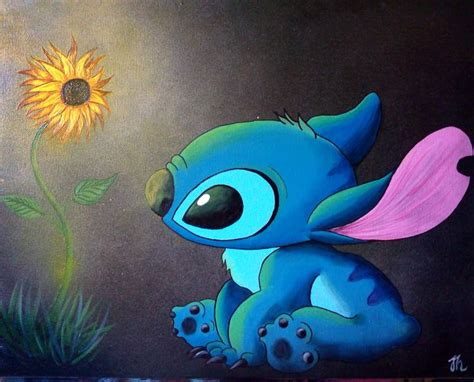 stitches painting stitch sunflower disney painting by cloud saatchi