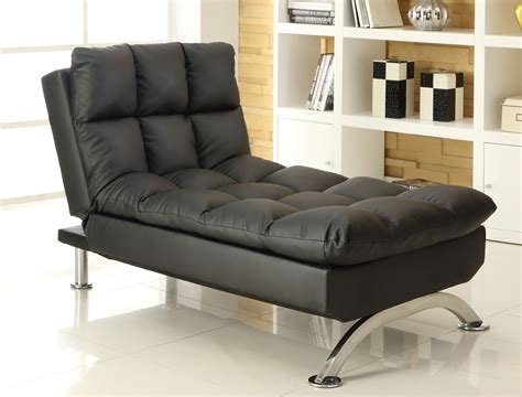 Chaise Futon furniture of america perry leatherette futon chaise