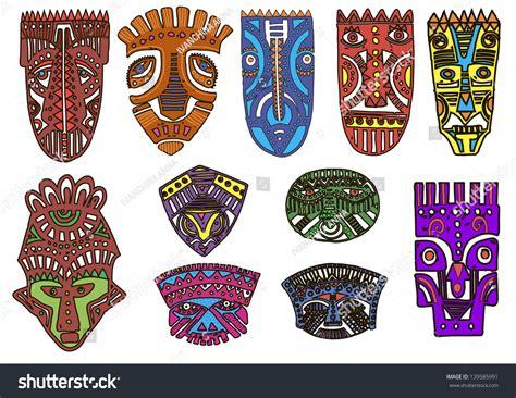 hand drawn illustration ornamental elementafrican mask