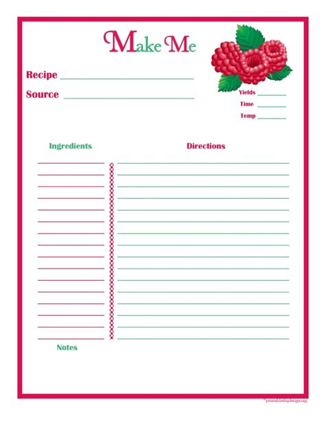 printable recipe card full page recipe card full page editable recipe card full page