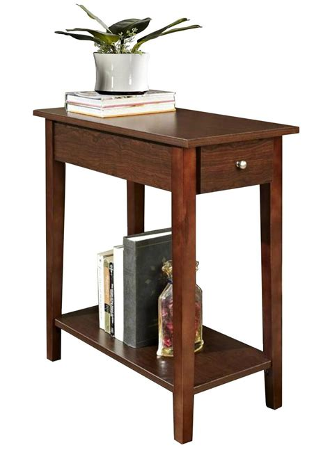 small walnut end table wooden walnut one drawer living room small side