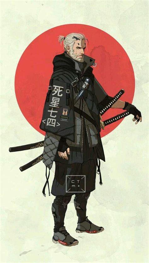 Zen Design Concept by Japanese Influenced Cartoon Characters Samurai Ninja