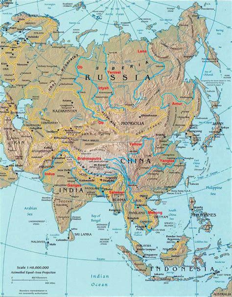 asia map atlas rivers of asia landforms of asia worldatlas