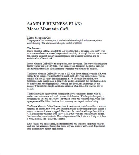 cafe business plan template 14 free word excel pdf