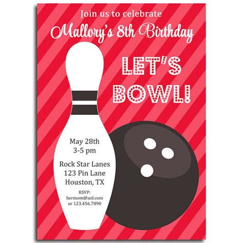 printable birthday cards bowling bowling invitation printable or printed with free shipping