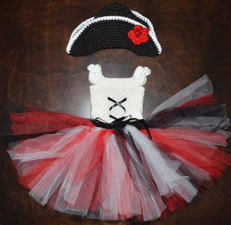 Handmade Pirate Hats - crochet pirate tulle tutu dress with matching hat baby