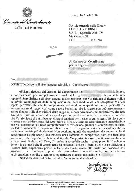 lettere raccomandate aduc comunicato la impedisce di disdire il canone
