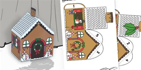 Gingerbread House Pop Up Card Template by Gingerbread House Paper Model Traditional Tales Craft
