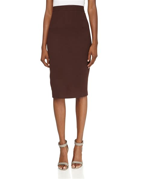 lhuillier wool pencil skirt in brown lyst