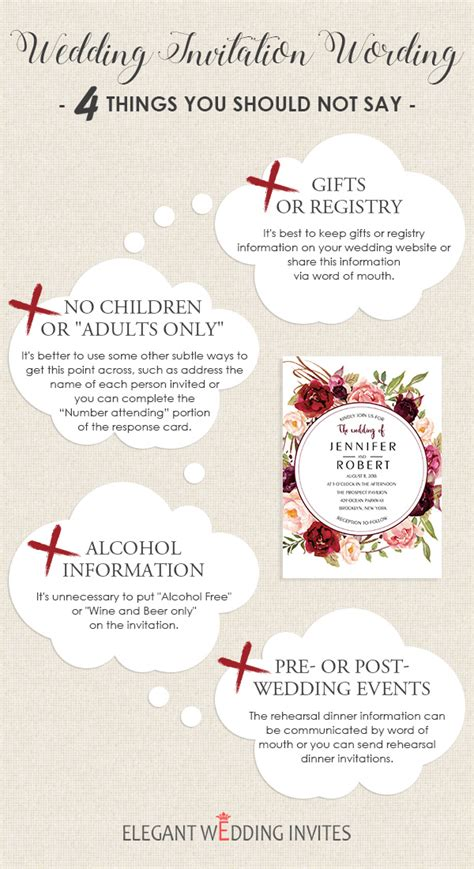 should registry information be included on bridal shower invitations wedding invitation wording 4 things you should not say elegantweddinginvites