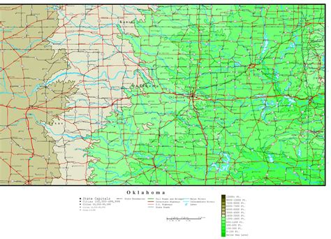 ou map oklahoma elevation map