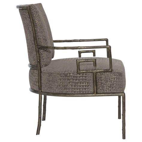 metal armchair kiefer hollywood regency grey alligator fabric metal armchair