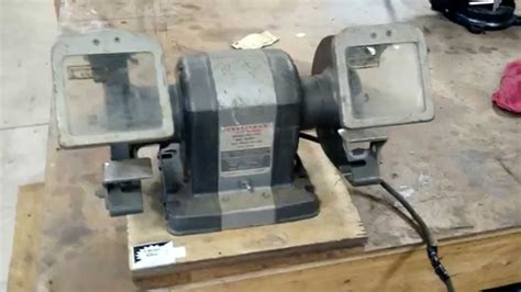 vintage craftsman bench grinder vintage craftsman 1 3hp bench grinder youtube