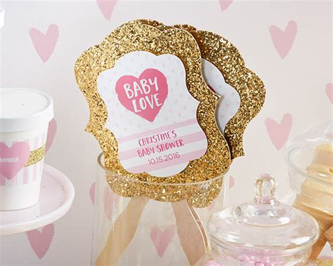 themes baby love personalized gold glitter hand fan baby love set of 12