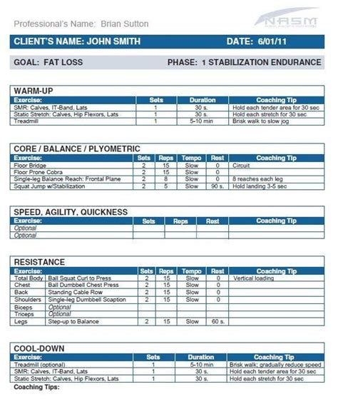 nasm template opt model phase 1 fitness workout programs