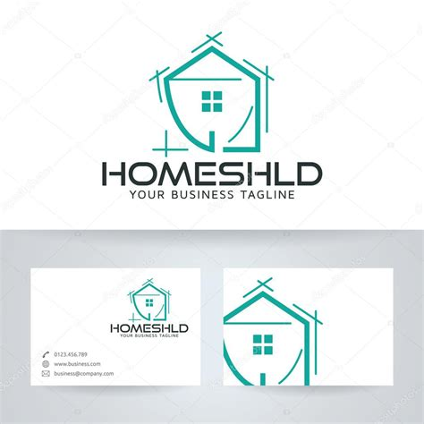 home shield vector logo with business card template