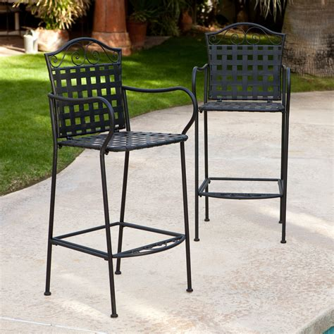 bar stool outdoor furniture woodard capri wrought iron outdoor bar stool set of 2