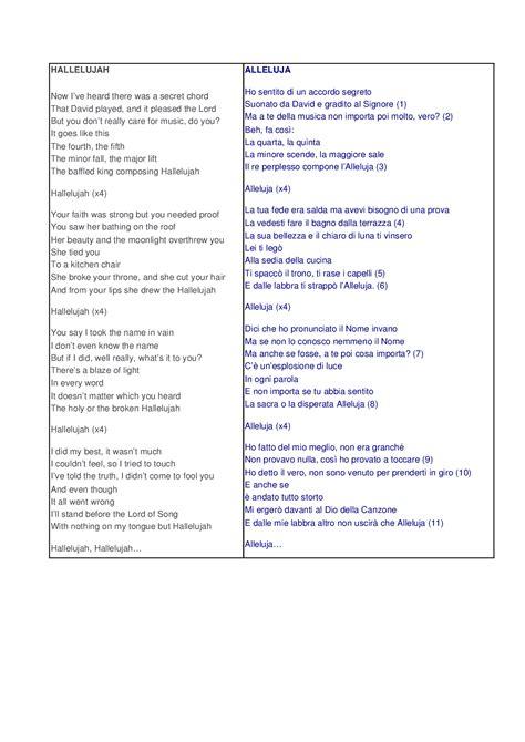 testo e traduzione and testo e traduzione halleluja di cohen docsity