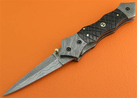 Handmade Folding Knife - liner lock damascus folding knife custom handmade damascus