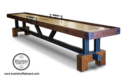 beautiful shuffleboard tables made from rustic woods and metal