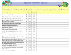 observation checklist template preschool observation checklist preschool