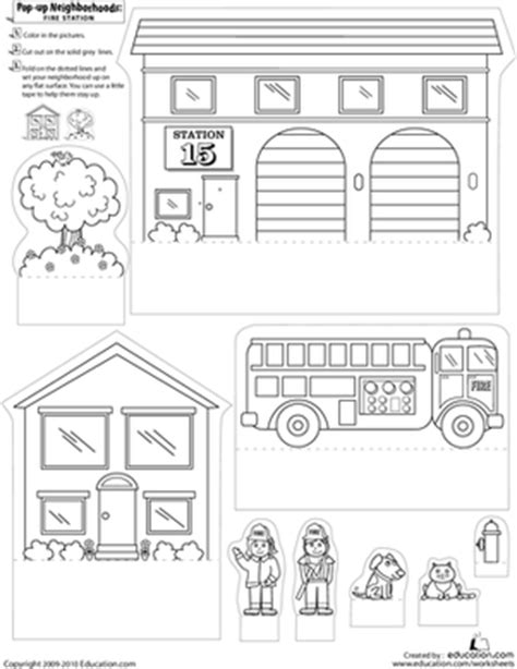 community map coloring page pop up neighborhoods fire station worksheet education com