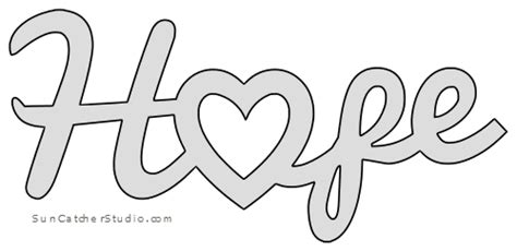 hope heart pattern template stencil printable word