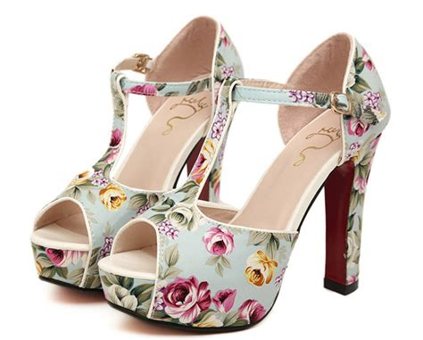 summer shoes floral print ankle bottom high
