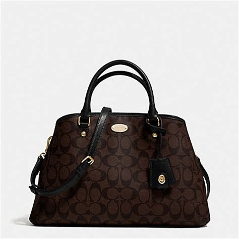Coach Small Margot Carryall Black coach f34608 small margot carryall in signature canvas light gold brown black coach handbags