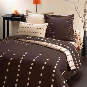 parure de lit bambou galet chocolat 260 x 240 cm