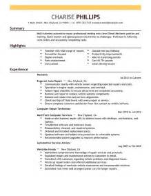 entry level mechanic resume exle installation
