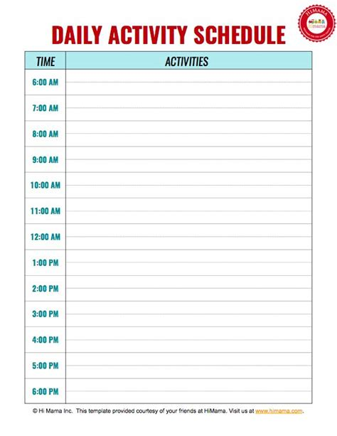 free childcare templates top 25 best daily schedule template ideas on