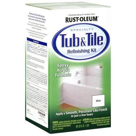 how to refinish your bathtub yourself rust oleum specialty 1 qt white tub and tile refinishing kit 7860519 the home depot