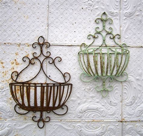 garden baskets wall wrought iron susanna half wall baskets in 2 sizes