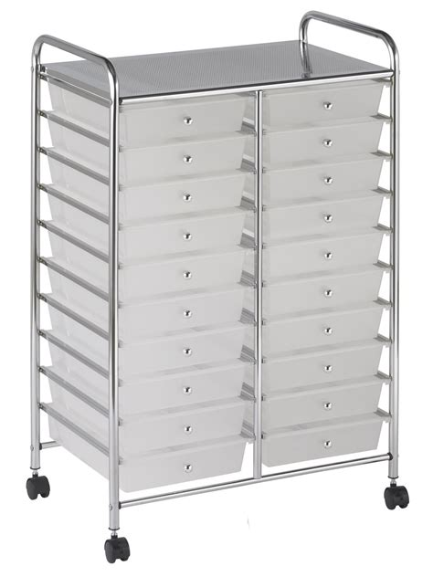 Rolling Drawer Organizer by Ecr4kids 20 Drawer Wide Mobile Organizer Multi