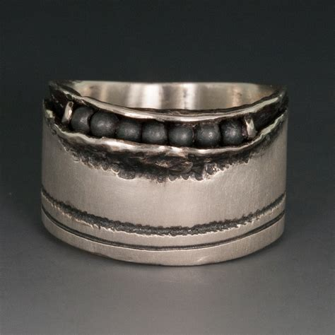 sterling silver wide band ring w hematite 12 75mm