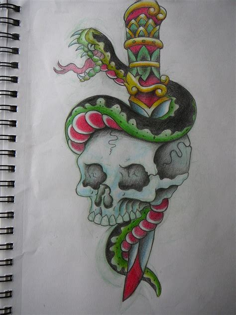 snake and dagger tattoo design dagger skull snake by oceansize on deviantart