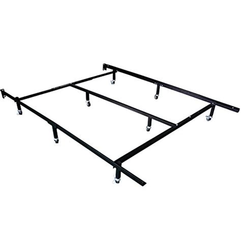Bed Frame Wheel Stoppers Hlc Smart 8 Wheel Metal Bed Frame 3 Adjustable Sizes Cal King With Center Support
