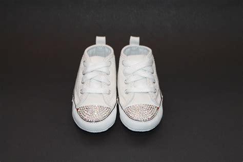 funky white converse crib shoes