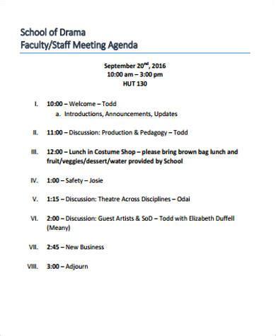 8 sle staff meeting agenda free sle exle