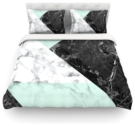 marble design quilt cover kess original quot geo marble and mint quot duvet cover