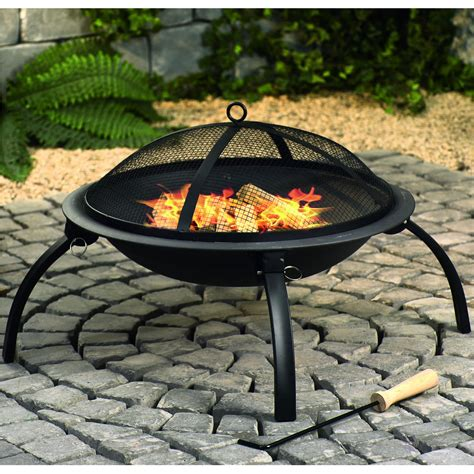 Firepit Cover Pit With Mesh Cover And Cooking Grill Black Next Day Delivery Pit With Mesh Cover