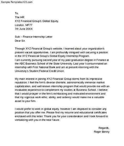 Motivation Letter For In Finance Sle Finance Internship Cover Letter Sle Templates