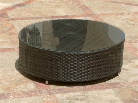 source outdoor circa wicker coffee table with glass
