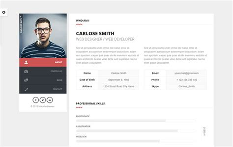 Cards Personal Vcard Resume Cv Portfolio 20 best personal vcard resume html templates web