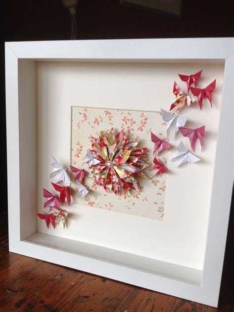 Photo Frame Origami - origami dahlia and butterflies in a frame order via www