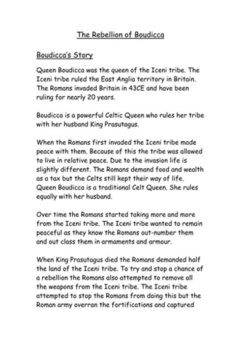 Boudicca Biography Ks2 | lesson plan and resources for a week on boudicca by jaken9