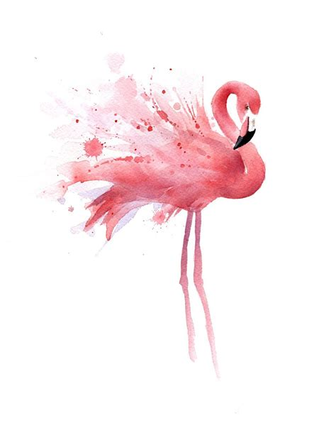 Printed Poster Flamingo quot flamingo quot watercolor print signed by