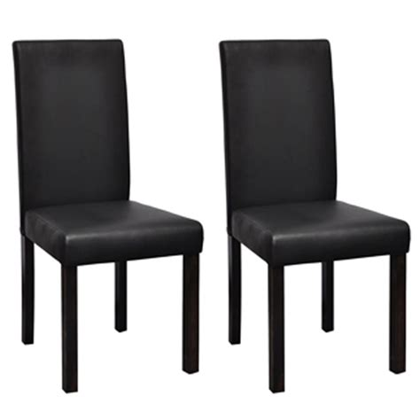 Black Wooden Dining Chairs 2 Modern Artificial Leather Wooden Dining Chair Black Vidaxl